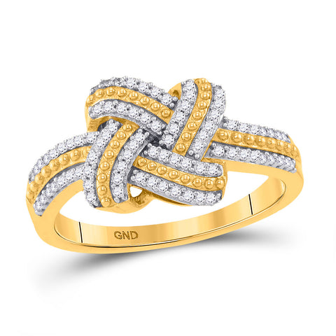 10kt Yellow Gold Womens Round Diamond Beaded Knot Fashion Ring 1/5 Cttw