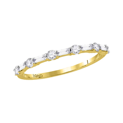 10kt Yellow Gold Womens Round Baguette Diamond Stackable Band Ring 3/8 Cttw