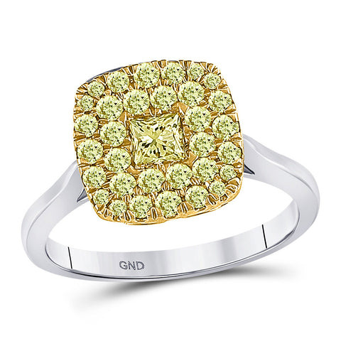 14kt Two-tone Gold Womens Princess Yellow Diamond Solitaire Square Frame Ring 1 Cttw