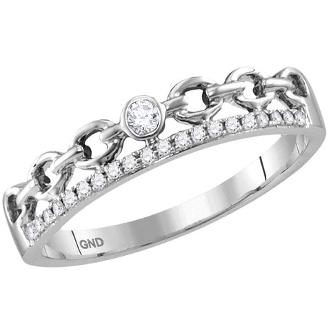 14kt White Gold Womens Round Diamond Rolo Link Stackable Band Ring 1/12 Cttw