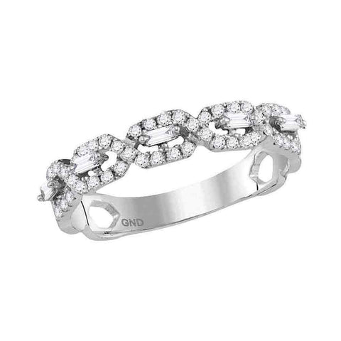 14kt White Gold Womens Round Diamond Modern Twist Stackable Band Ring 1/3 Cttw