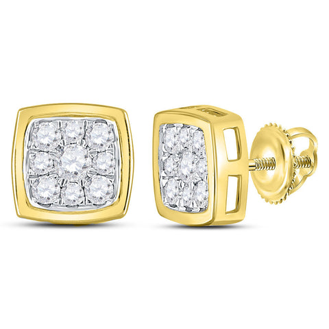 14kt Yellow Gold Womens Round Diamond Square Cluster Stud Earrings 1/2 Cttw