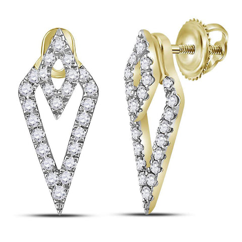 14kt Yellow Gold Womens Round Diamond Triangle Fashion Earrings 1/3 Cttw