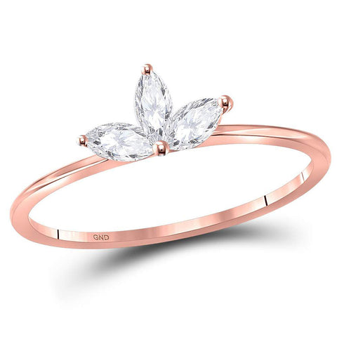 10kt Rose Gold Womens Marquise Diamond Stackable Band Ring 1/4 Cttw