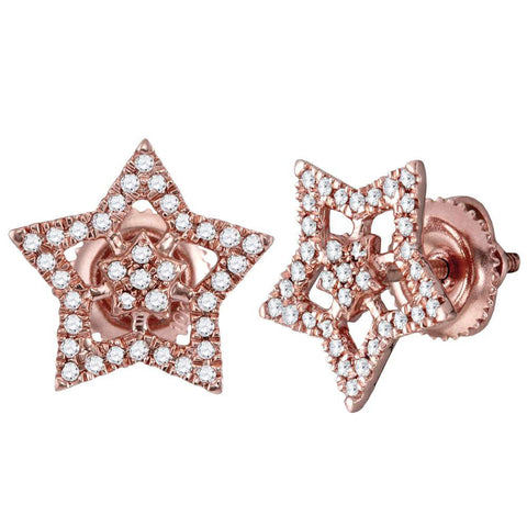 10kt Rose Gold Womens Round Diamond Star Earrings 1/5 Cttw