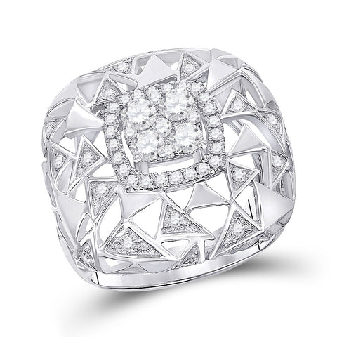 14kt White Gold Womens Round Diamond Geometric Cocktail Ring 1 Cttw