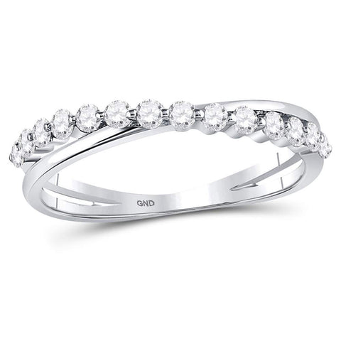 10kt White Gold Womens Round Diamond Crossover Stackable Band Ring 1/3 Cttw
