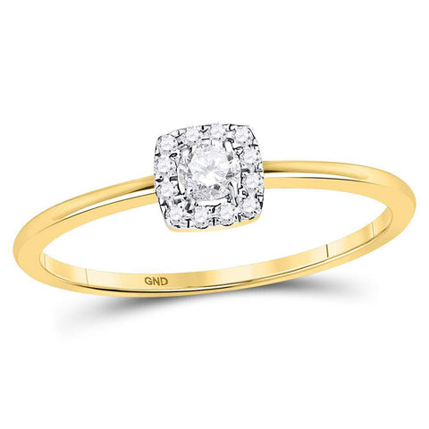 10kt Yellow Gold Womens Round Diamond Solitaire Stackable Band Ring 1/5 Cttw