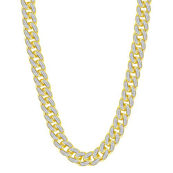 10kt Yellow Gold Mens Round Diamond Cuban Link Chain Necklace 13-1/5 Cttw