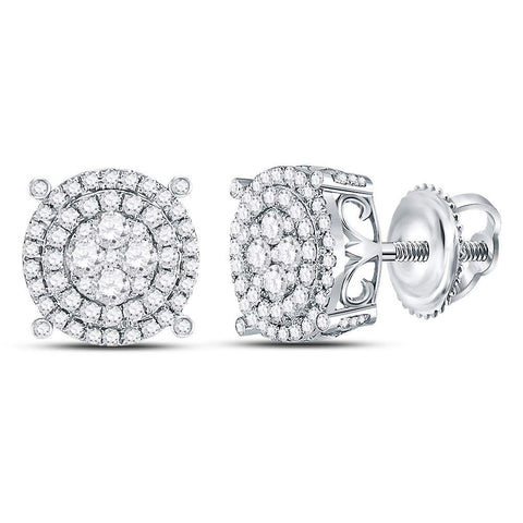 14kt White Gold Womens Round Diamond Circle Frame Cluster Earrings 1 Cttw