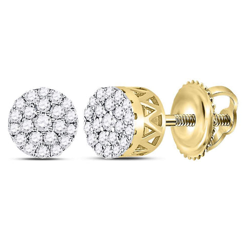 14kt Yellow Gold Womens Round Diamond Concentric Circle Cluster Earrings 1/4 Cttw