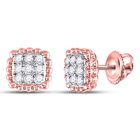 10kt Rose Gold Womens Round Diamond Beaded Square Frame Cluster Earrings 1/4 Cttw