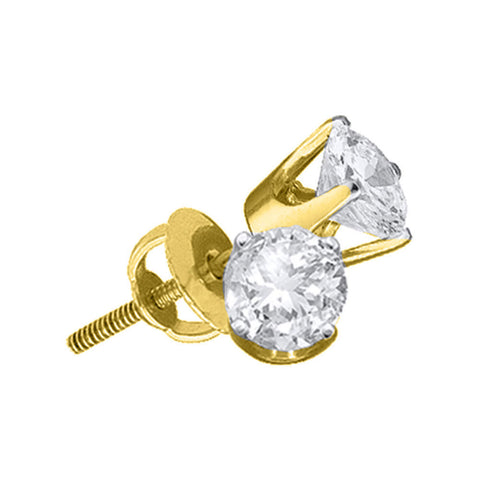 14kt Yellow Gold Unisex Round Diamond Solitaire Stud Earrings 1 Cttw