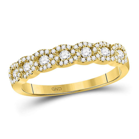 14kt Yellow Gold Womens Round Diamond Anniversary Band Ring 1/2 Cttw