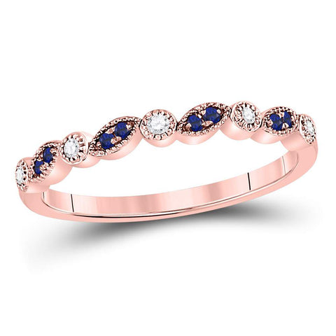10kt Rose Gold Womens Round Blue Sapphire Diamond Stackable Band Ring 1/10 Cttw
