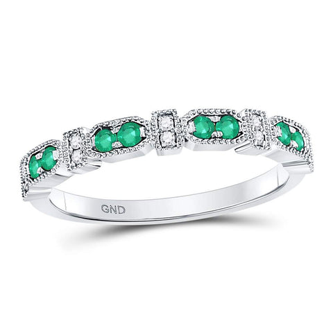 10kt White Gold Womens Round Emerald Diamond Stackable Band Ring 1/4 Cttw