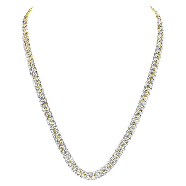 10kt Yellow Gold Mens Round Diamond Cuban Link Chain Necklace 7 Cttw