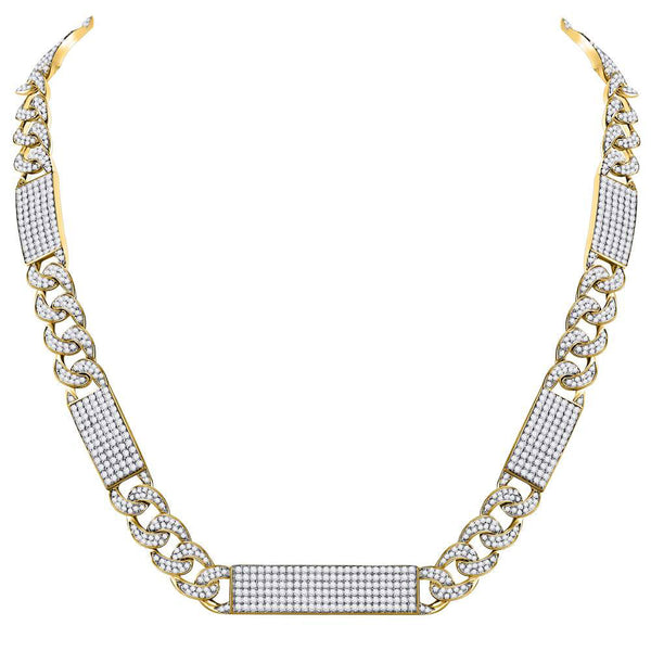 "10kt Yellow Gold Mens Round Diamond Cuban Link 24"" Necklace 24-1/2 Cttw"