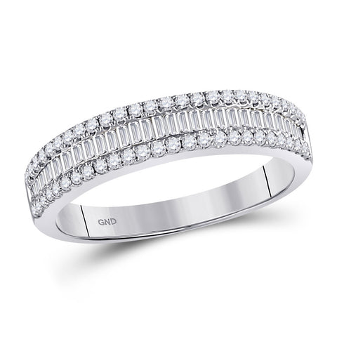 14kt White Gold Womens Round Diamond Anniversary Band Ring 1/2 Cttw