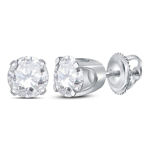 14kt White Gold Unisex Round Diamond Solitaire Stud Earrings 3/4 Cttw