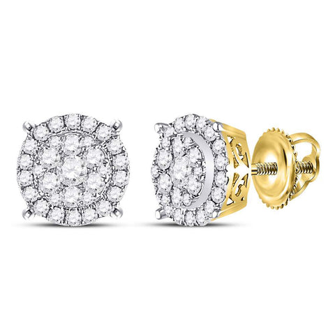 14kt Yellow Gold Womens Round Diamond Circle Cluster Earrings 1/2 Cttw