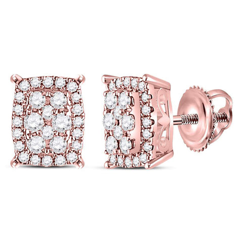 14kt Rose Gold Womens Round Diamond Rectangular Cluster Earrings 1/4 Cttw