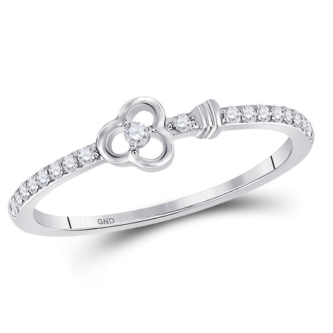 10kt White Gold Womens Round Diamond Spade Stackable Band Ring 1/6 Cttw