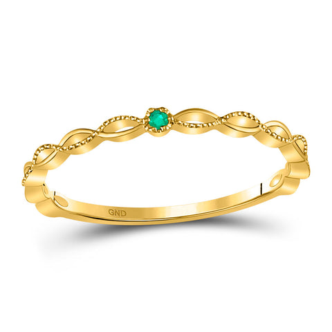 10kt Yellow Gold Womens Round Emerald Solitaire Milgrain Stackable Band Ring .01 Cttw