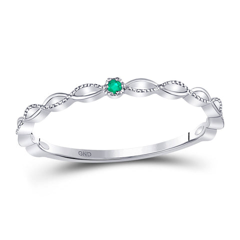 10kt White Gold Womens Round Emerald Solitaire Milgrain Stackable Band Ring .01 Cttw