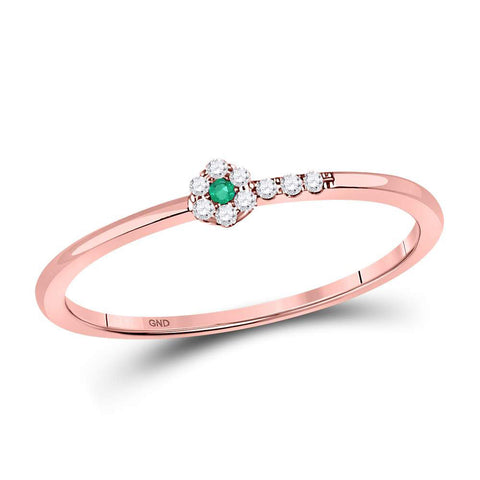 10kt Rose Gold Womens Round Emerald Diamond Slender Stackable Band Ring 1/20 Cttw