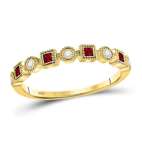 10kt Yellow Gold Womens Princess Ruby Square Dot Stackable Band Ring 1/8 Cttw