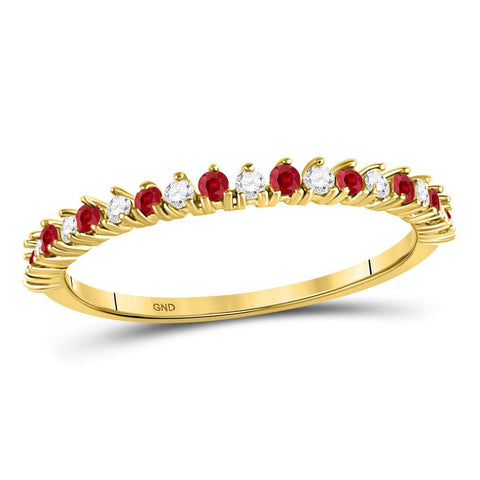 10kt Yellow Gold Womens Round Ruby Diamond Stackable Band Ring 1/4 Cttw