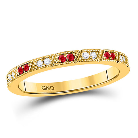 10kt Yellow Gold Womens Round Ruby Diamond Milgrain Stackable Band Ring 1/4 Cttw