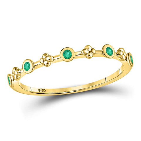 10kt Yellow Gold Womens Round Emerald Dot Flower Stackable Band Ring 1/12 Cttw