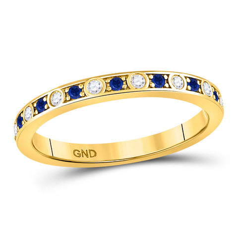 10kt Yellow Gold Womens Round Blue Sapphire Diamond Alternating Stackable Band Ring 1/4 Cttw