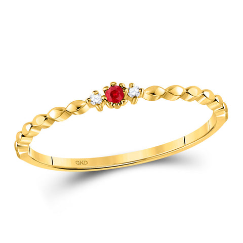 10kt Yellow Gold Womens Round Ruby Diamond Stackable Band Ring .03 Cttw