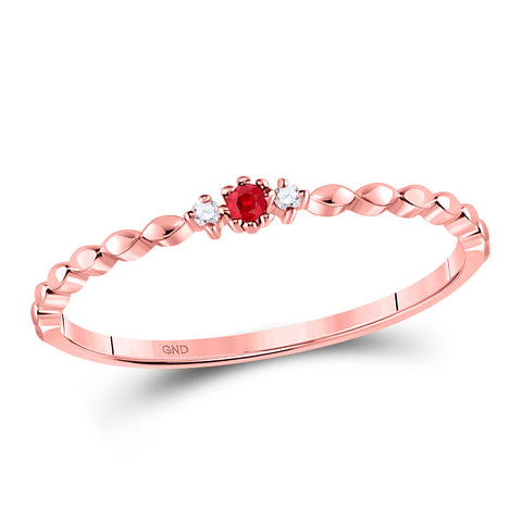 10kt Rose Gold Womens Round Ruby Diamond Stackable Band Ring .03 Cttw
