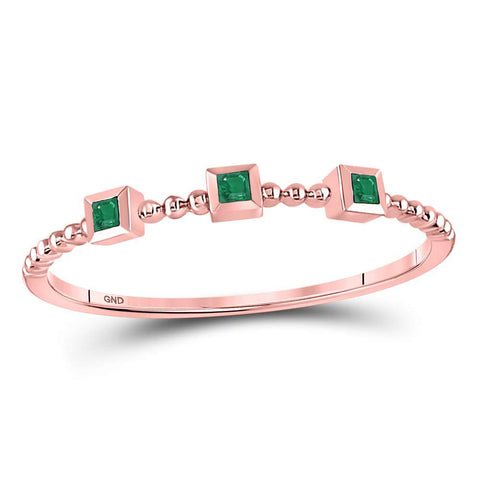 10kt Rose Gold Womens Princess Emerald Beaded 3-stone Stackable Band Ring .03 Cttw