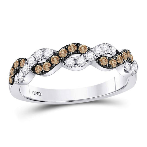 10kt White Gold Womens Round Brown Diamond Braided Band Ring 1/2 Cttw