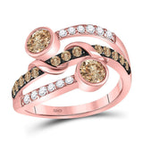 10kt Rose Gold Womens Round Brown Diamond Strand Band Ring 1 Cttw