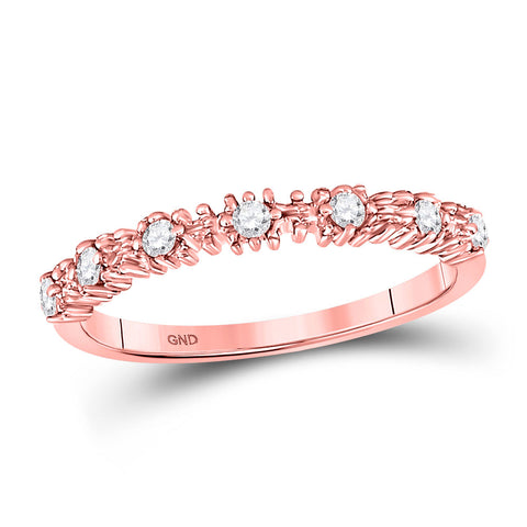 10kt Rose Gold Womens Round Diamond Stackable Band Ring 1/6 Cttw