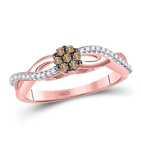 10kt Rose Gold Womens Round Brown Diamond Cluster Twist Ring 1/6 Cttw