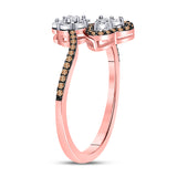 10kt Rose Gold Womens Round Brown Diamond Bypass Flower Heart Ring 1/5 Cttw