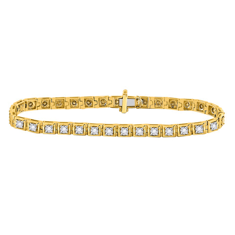 10kt Yellow Gold Womens Round Diamond Fashion Tennis Bracelet 3/4 Cttw