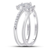 14kt White Gold Womens Round Diamond Spiral Cluster Ring 1/2 Cttw
