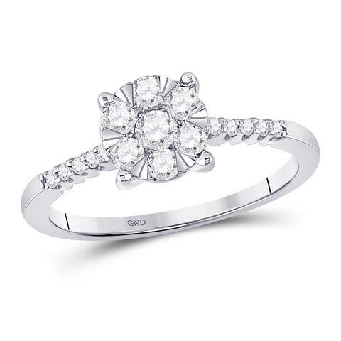 10kt White Gold Womens Round Diamond Flower Cluster Ring 1/2 Cttw