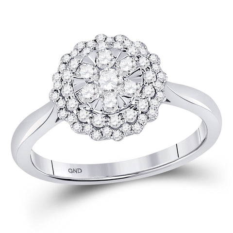 10kt White Gold Womens Round Diamond Halo Flower Cluster Ring 1/2 Cttw