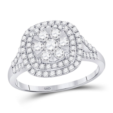 14kt White Gold Womens Round Diamond Right-Hand Cluster Ring 1 Cttw