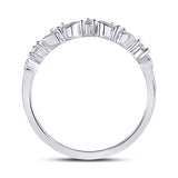 14kt White Gold Womens Round Diamond 5-Stone Stackable Band Ring 1/10 Cttw
