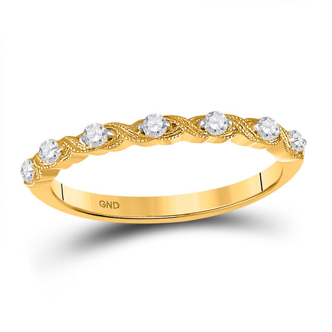 14kt Yellow Gold Womens Round Diamond XOXO Stackable Band Ring 1/8 Cttw